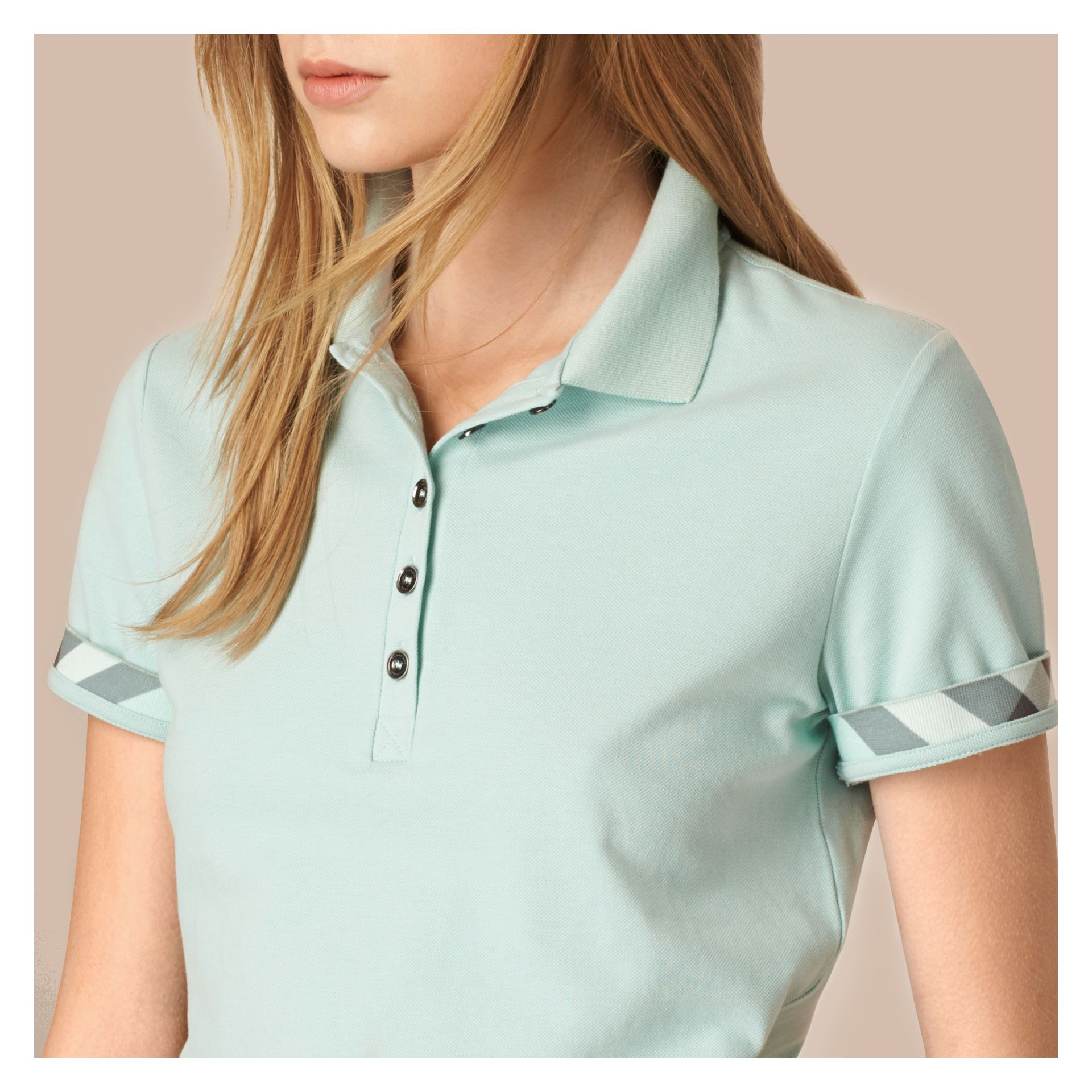 Light green opal Check Trim Stretch Cotton Piqué Polo Shirt Light Green Opal - gallery image 4