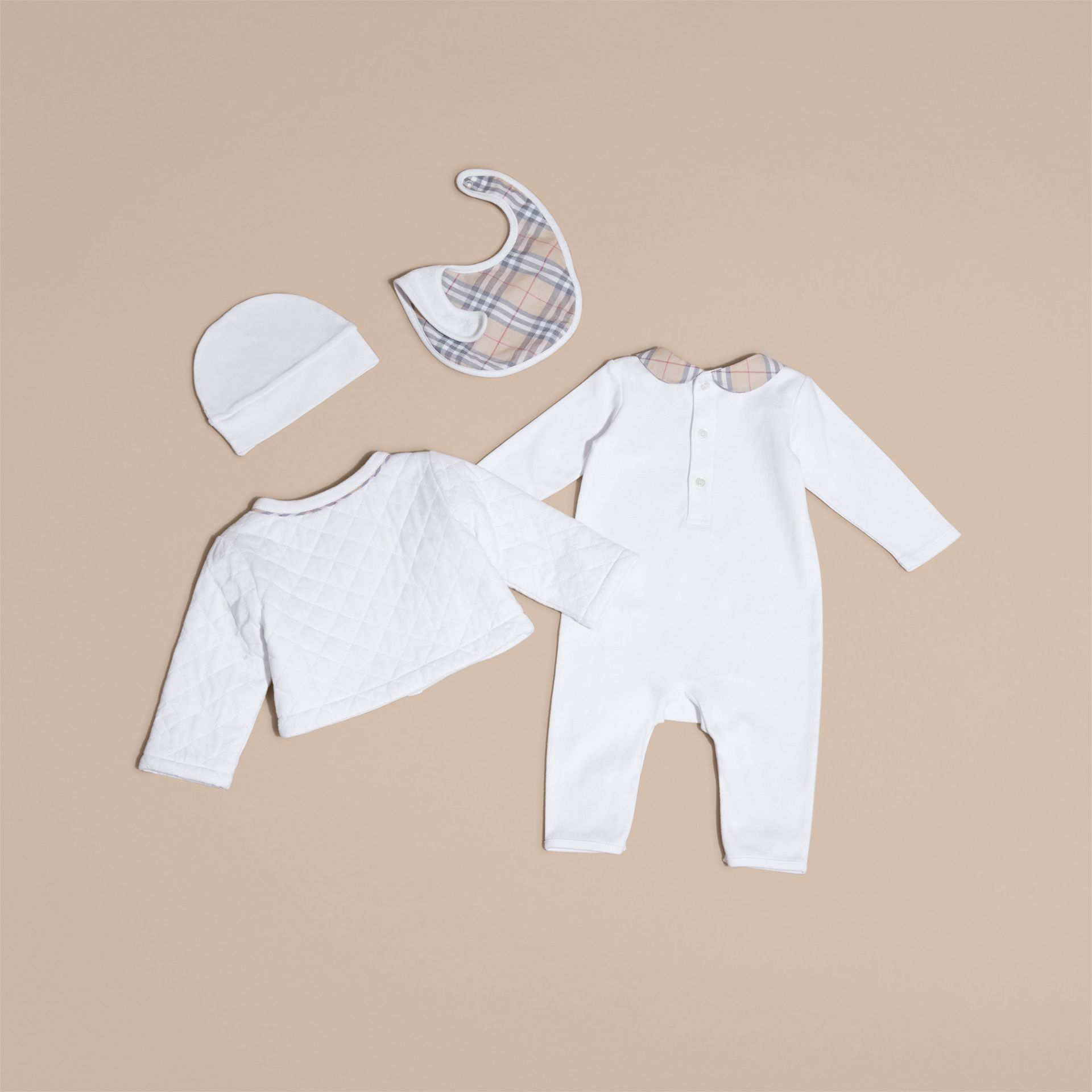 Check Detail Four-piece Baby Gift Set in White - Children | Burberry - gallery image 3