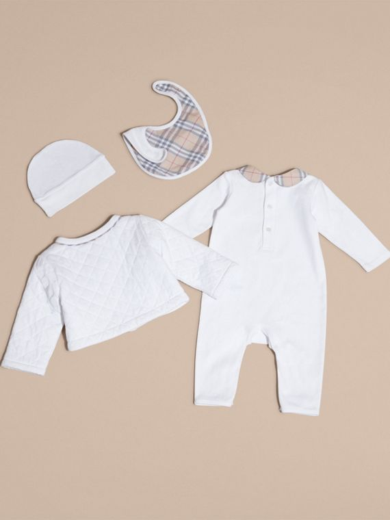 Check Detail Four-piece Baby Gift Set in White - Children | Burberry - cell image 2