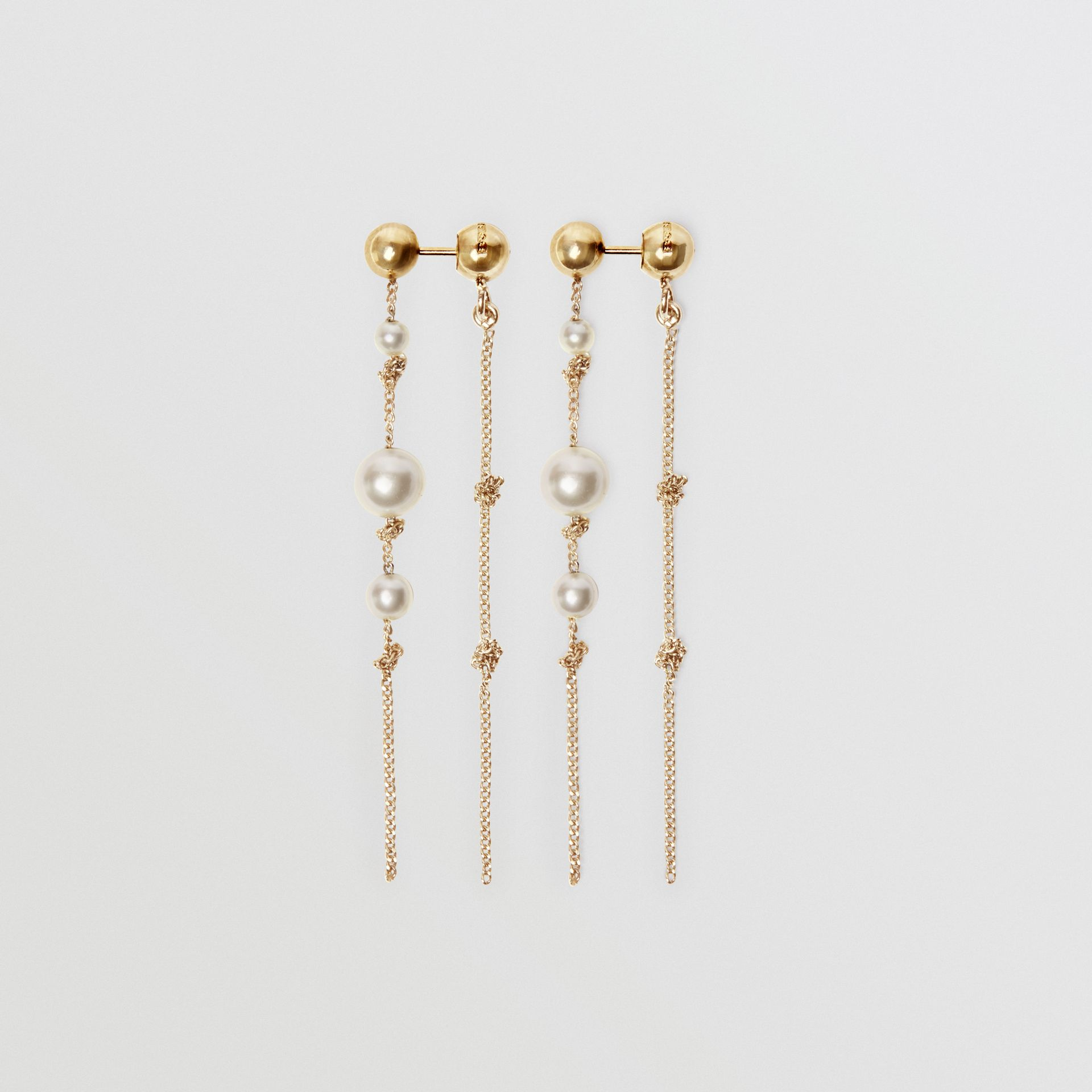 Faux Pearl Gold-plated Drop Earrings in Light - Women | Burberry United States - gallery image 4