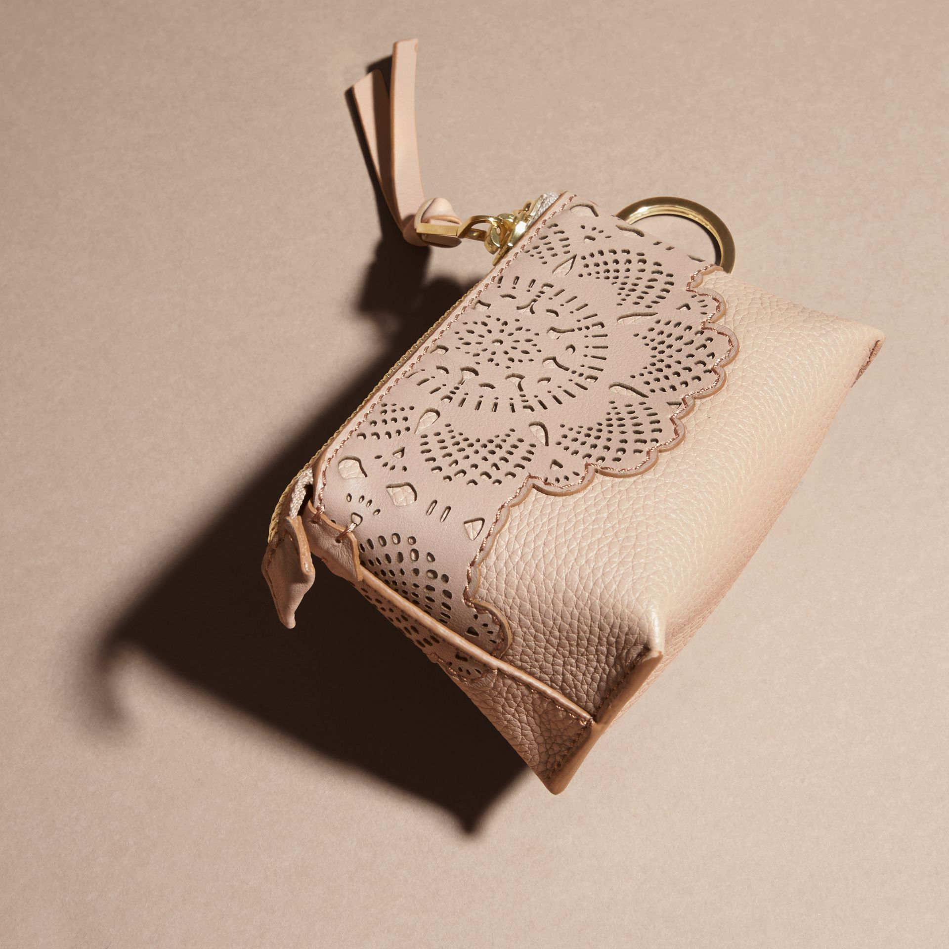 Pale apricot Laser-cut Lace Leather Coin Case - gallery image 4