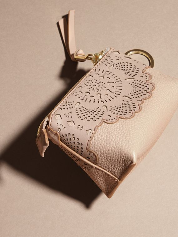 Pale apricot Laser-cut Lace Leather Coin Case - cell image 3