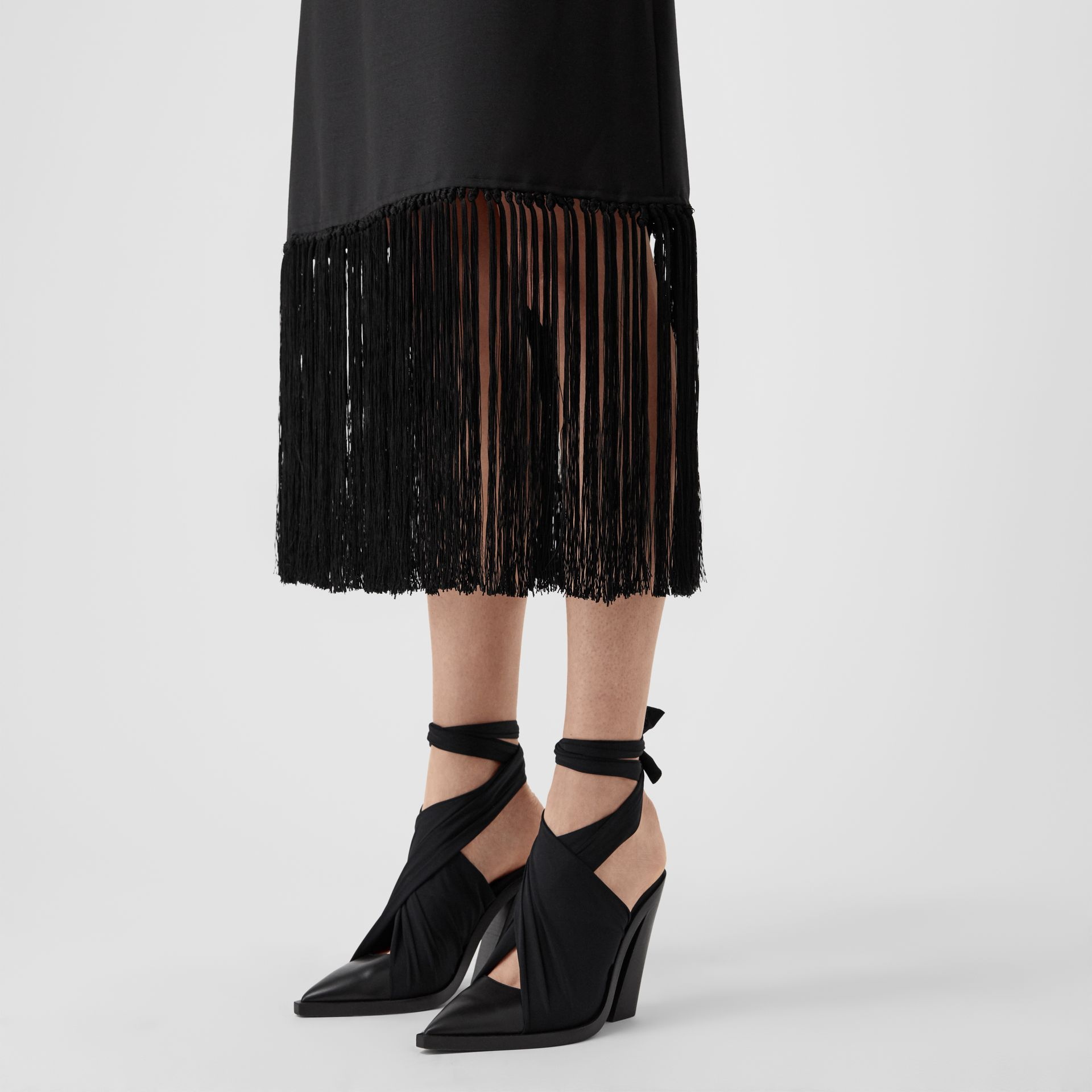 Fringed Mohair Wool A-line Skirt in Black - Women | Burberry United Kingdom - gallery image 5