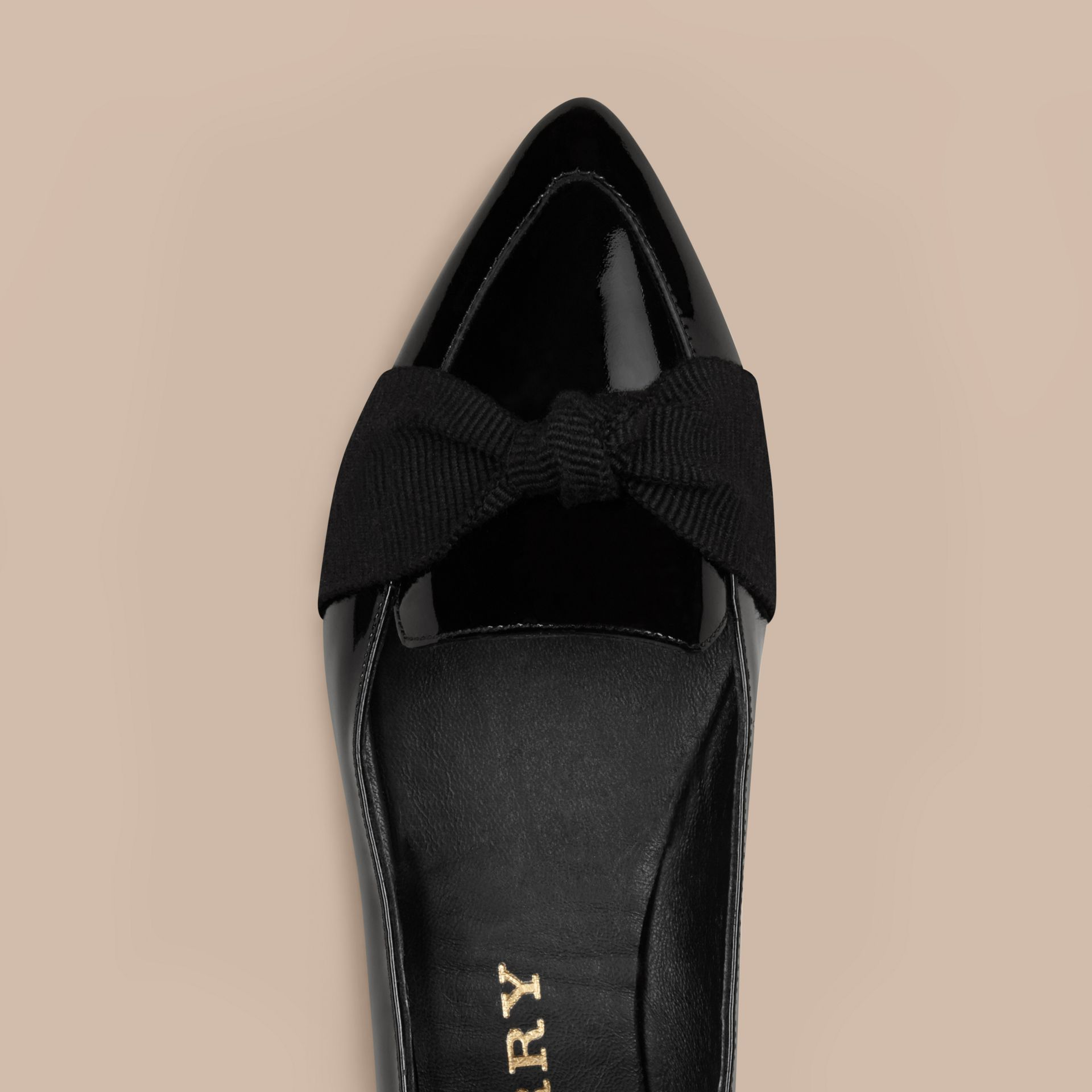 Black Patent Leather Loafers with Grosgrain Bow Black - gallery image 5