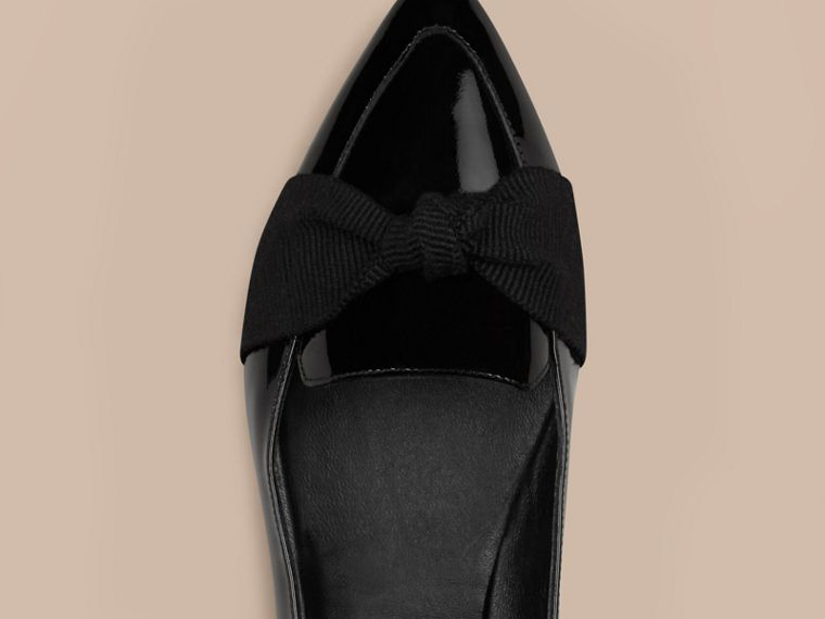 Black Patent Leather Loafers with Grosgrain Bow Black - cell image 4