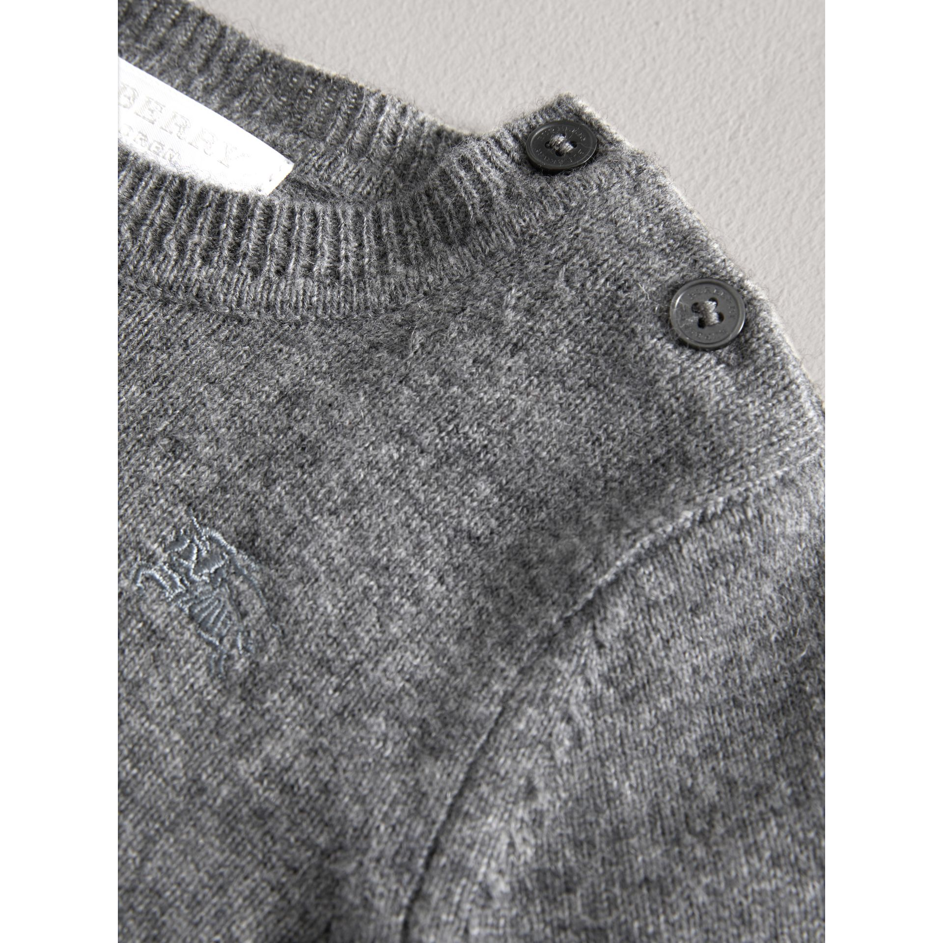 Check Detail Cashmere Sweater in Mid Grey Melange | Burberry - gallery image 1