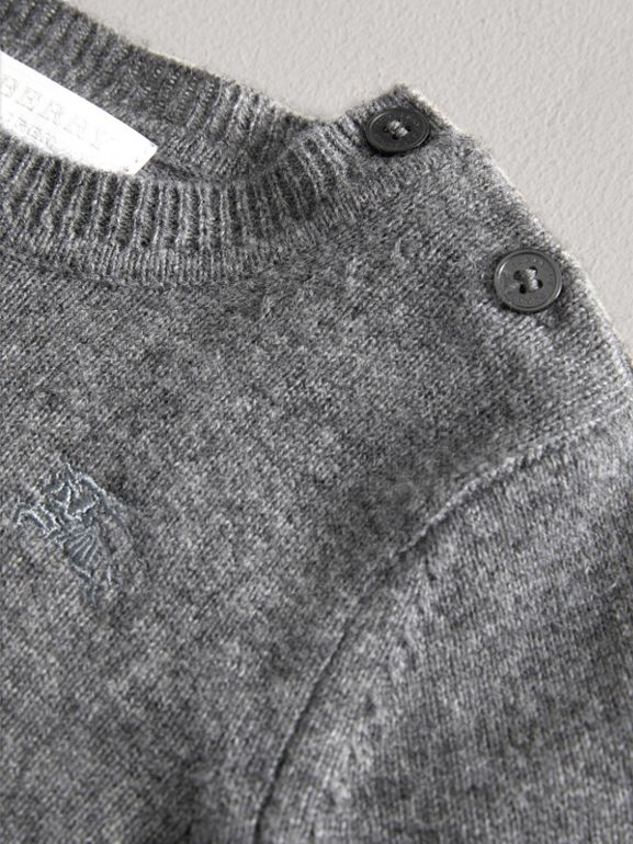 Check Detail Cashmere Sweater in Mid Grey Melange | Burberry - cell image 1