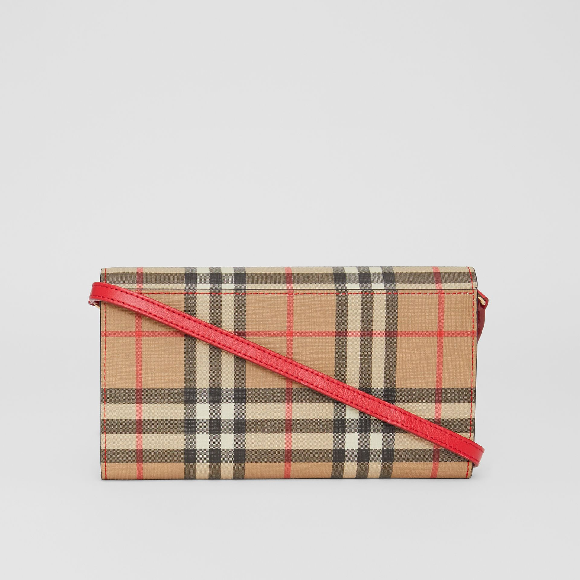 Vintage Check E-canvas Wallet with Detachable Strap in Bright Military Red - Women | Burberry Singapore - gallery image 7