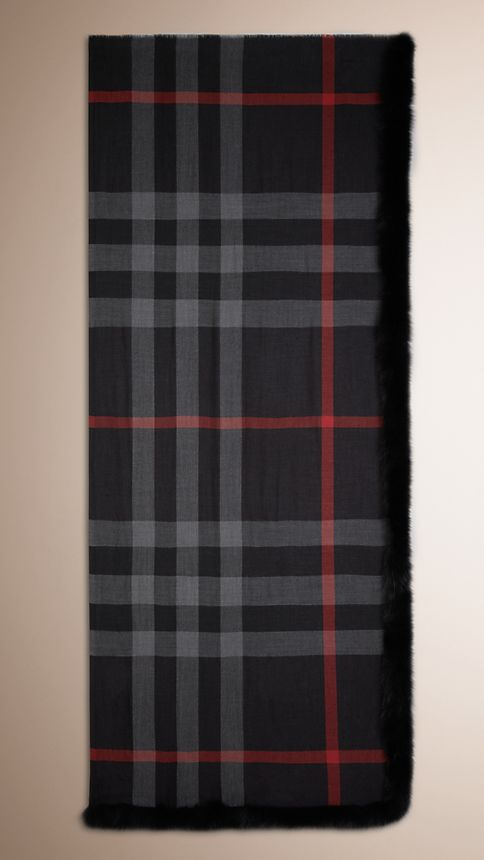Black check Fur Trim Cashmere Check Scarf - Image 3