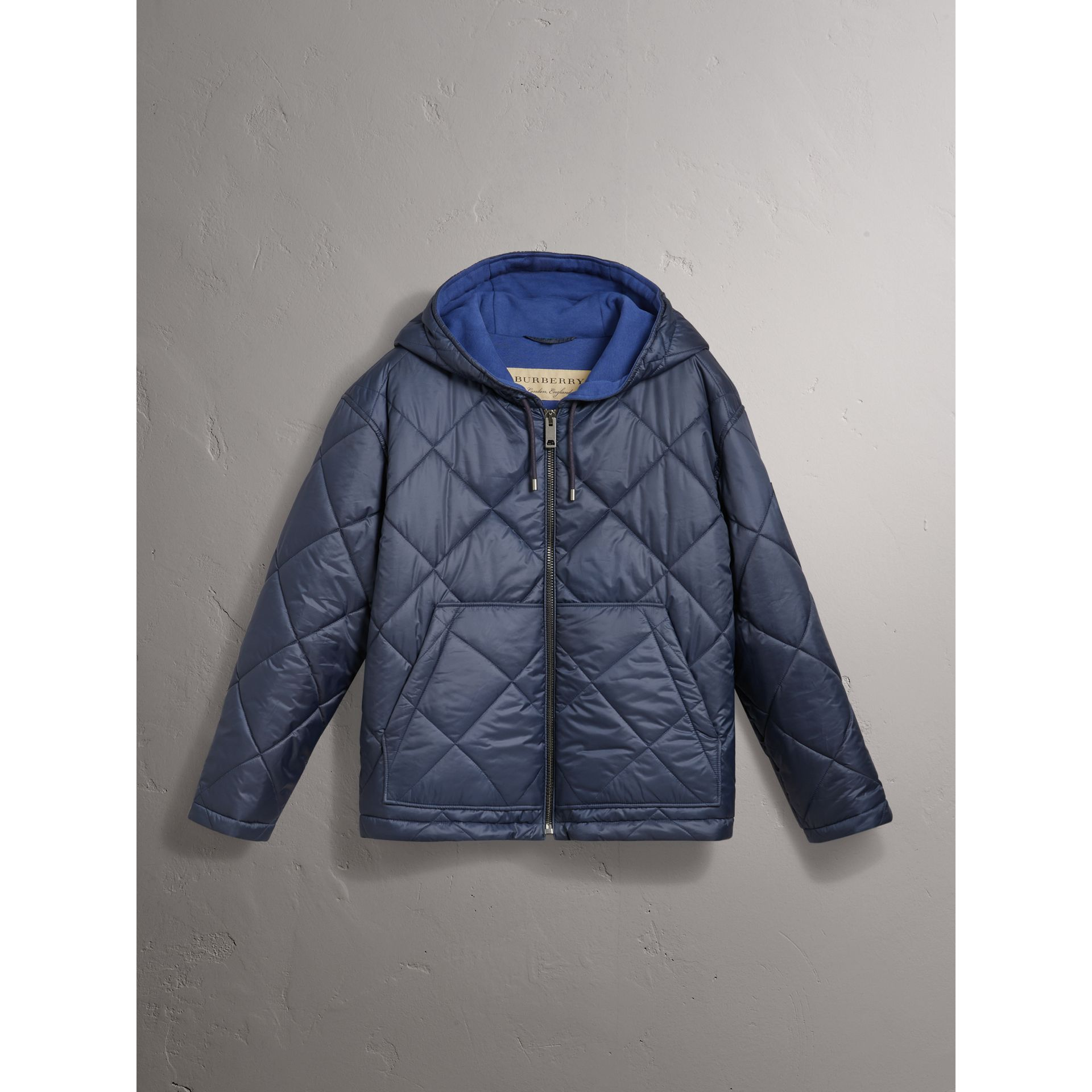 Reversible Diamond Quilted Hooded Jacket in Navy - Women | Burberry - gallery image 3