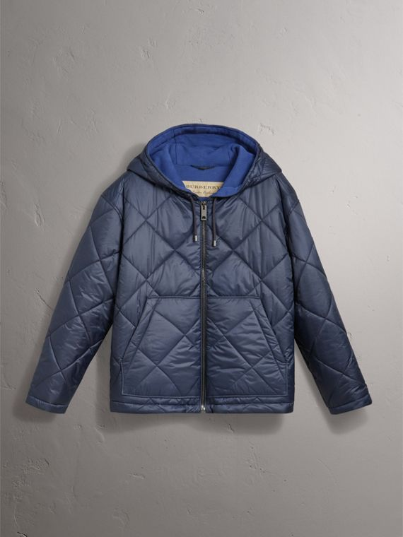 Reversible Diamond Quilted Hooded Jacket in Navy - Women | Burberry United States - cell image 3