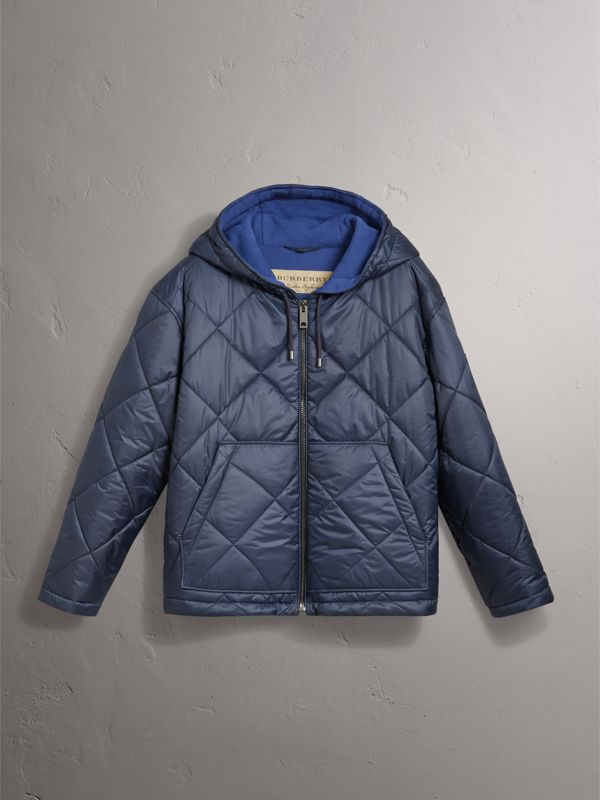 Reversible Diamond Quilted Hooded Jacket in Navy - Women | Burberry - cell image 3