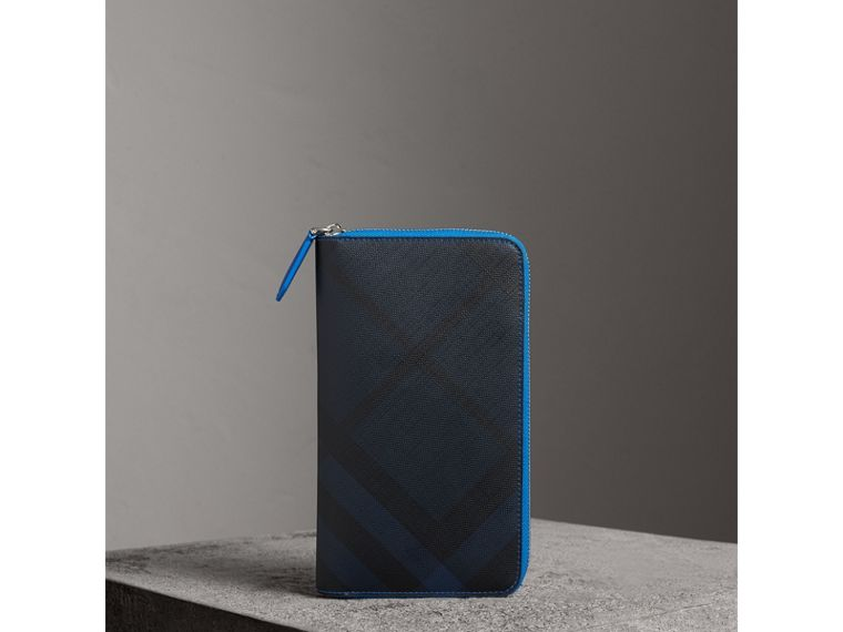London Check and Leather Ziparound Wallet in Navy/ Blue - Men | Burberry United Kingdom - cell image 4