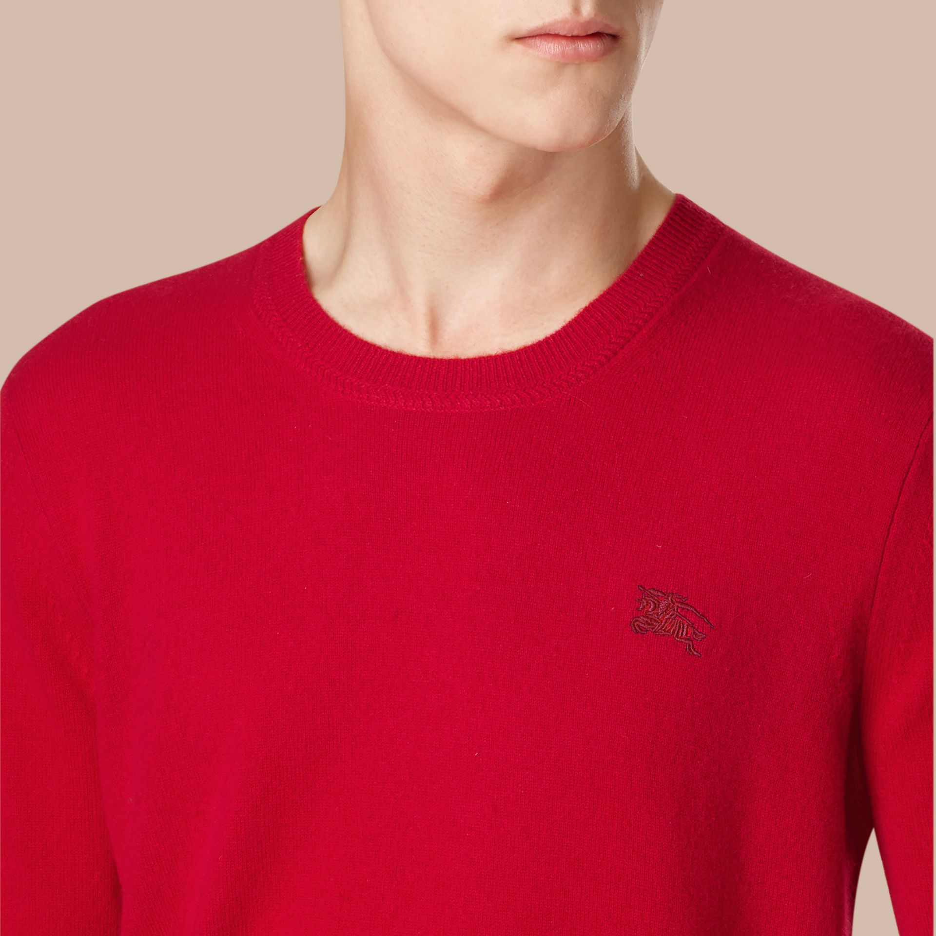 Crew Neck Cashmere Sweater in Military Red - Men | Burberry - gallery image 2