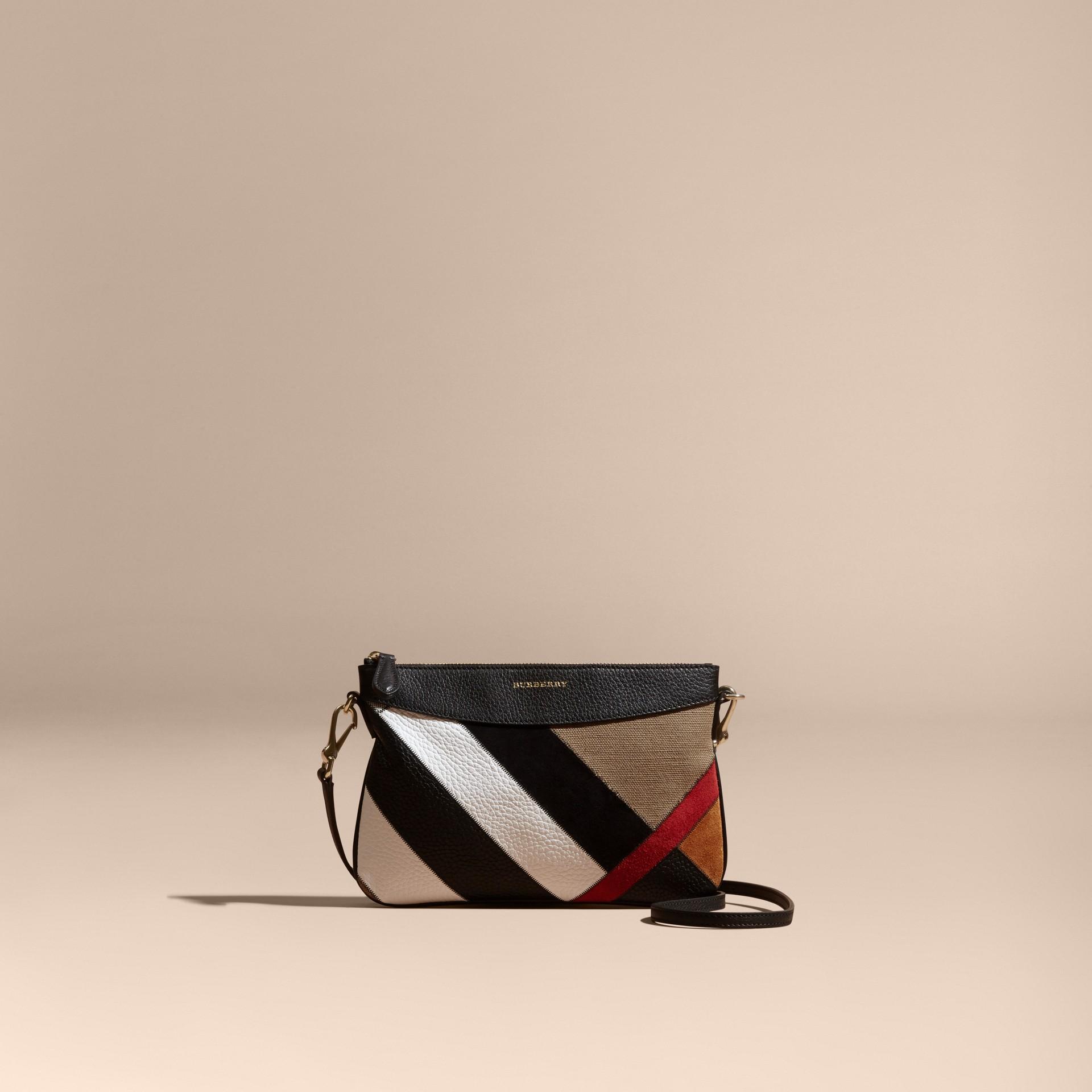 Noir Clutch façon patchwork en cuir, cuir velours et jute de coton à motif check - photo de la galerie 9