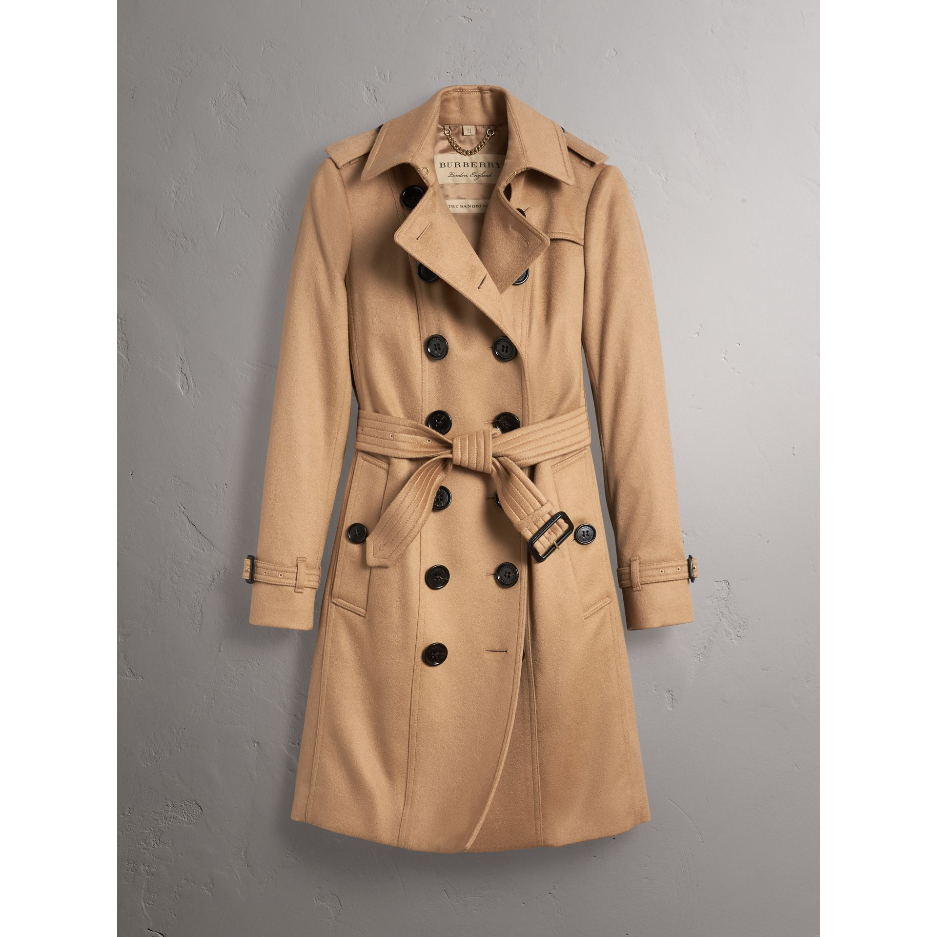 Sandringham Fit Cashmere Trench Coat in Camel - Women | Burberry Singapore - gallery image 3