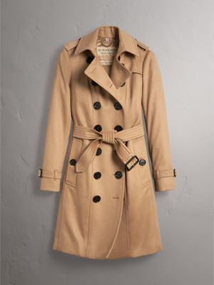 Sandringham Fit Cashmere Trench Coat in Camel - Women | Burberry