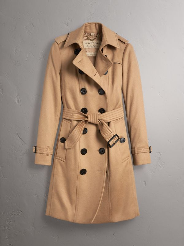 Sandringham Fit Cashmere Trench Coat in Camel - Women | Burberry - cell image 3