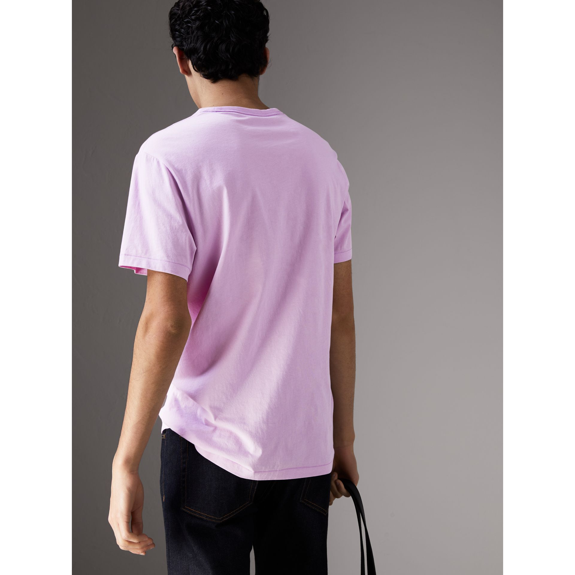 Cotton Jersey T-shirt in Pale Fuchsia - Men | Burberry United States - gallery image 2
