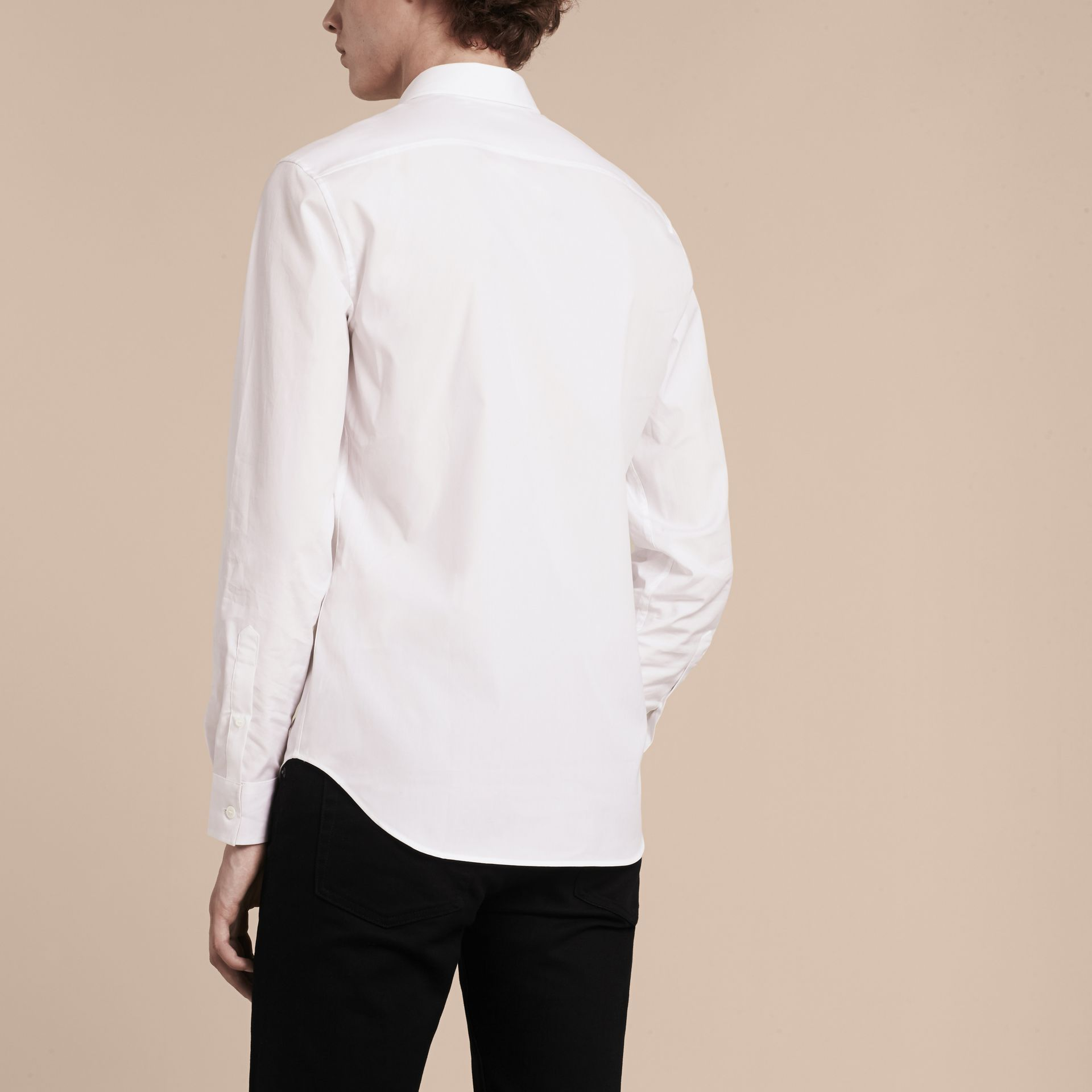Check Detail Stretch Cotton Shirt in White - gallery image 3