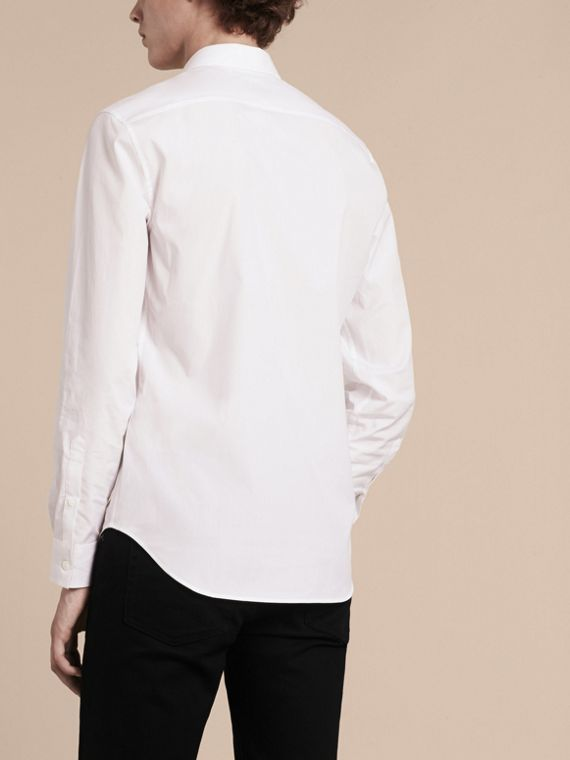 Check Detail Stretch Cotton Shirt in White - cell image 2