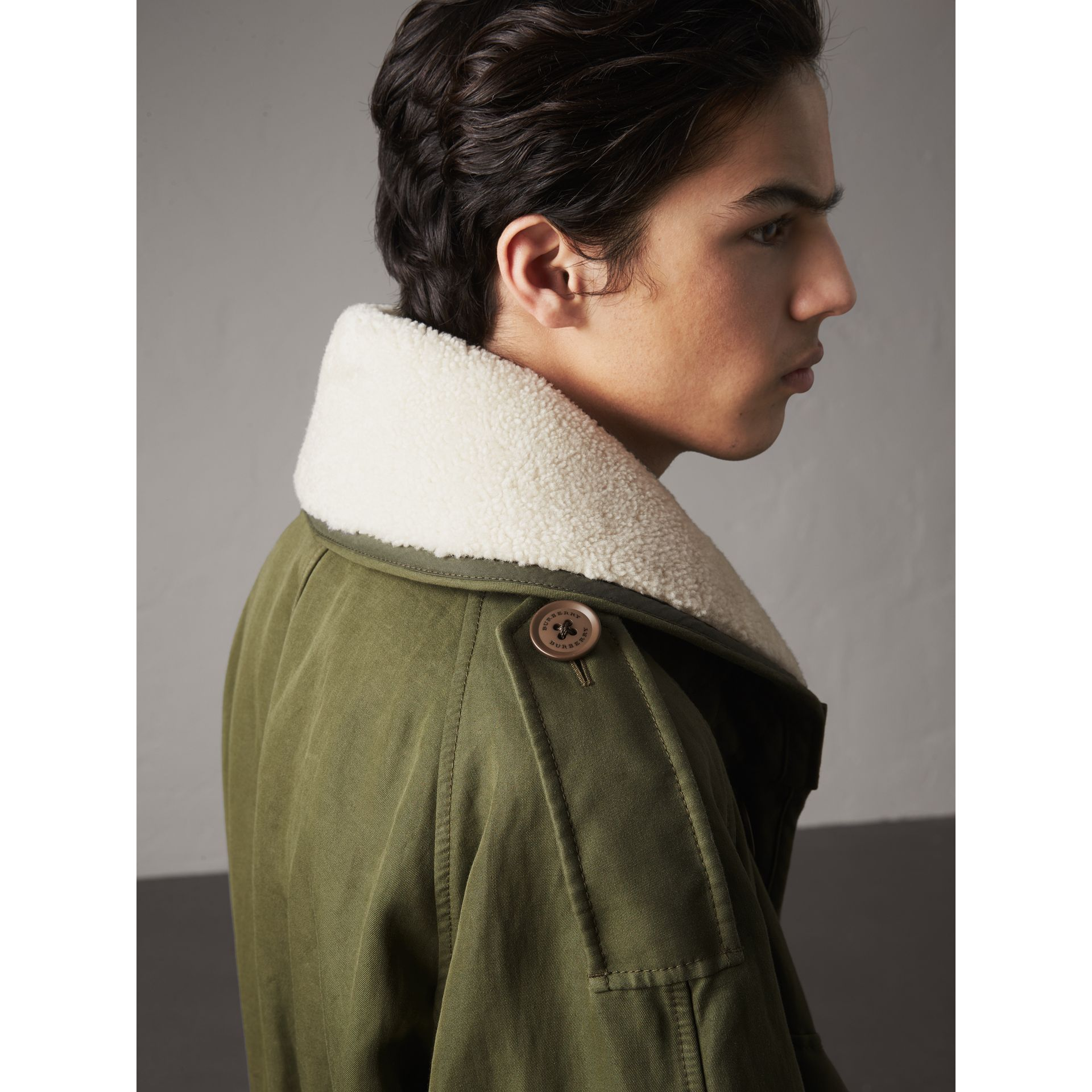 Shearling Collar Ramie Cotton Field Jacket in Olive - Men | Burberry - gallery image 1