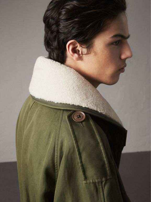 Shearling Collar Ramie Cotton Field Jacket in Olive - Men | Burberry - cell image 1