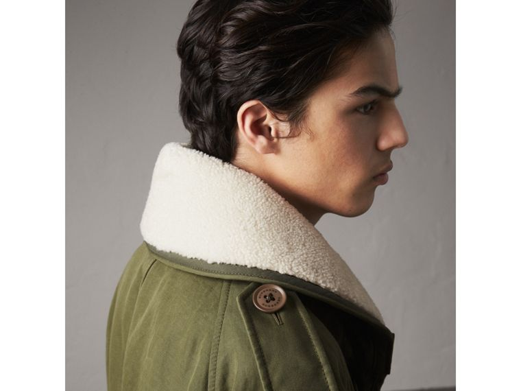 Shearling Collar Ramie Cotton Field Jacket in Olive - Men | Burberry Australia - cell image 1