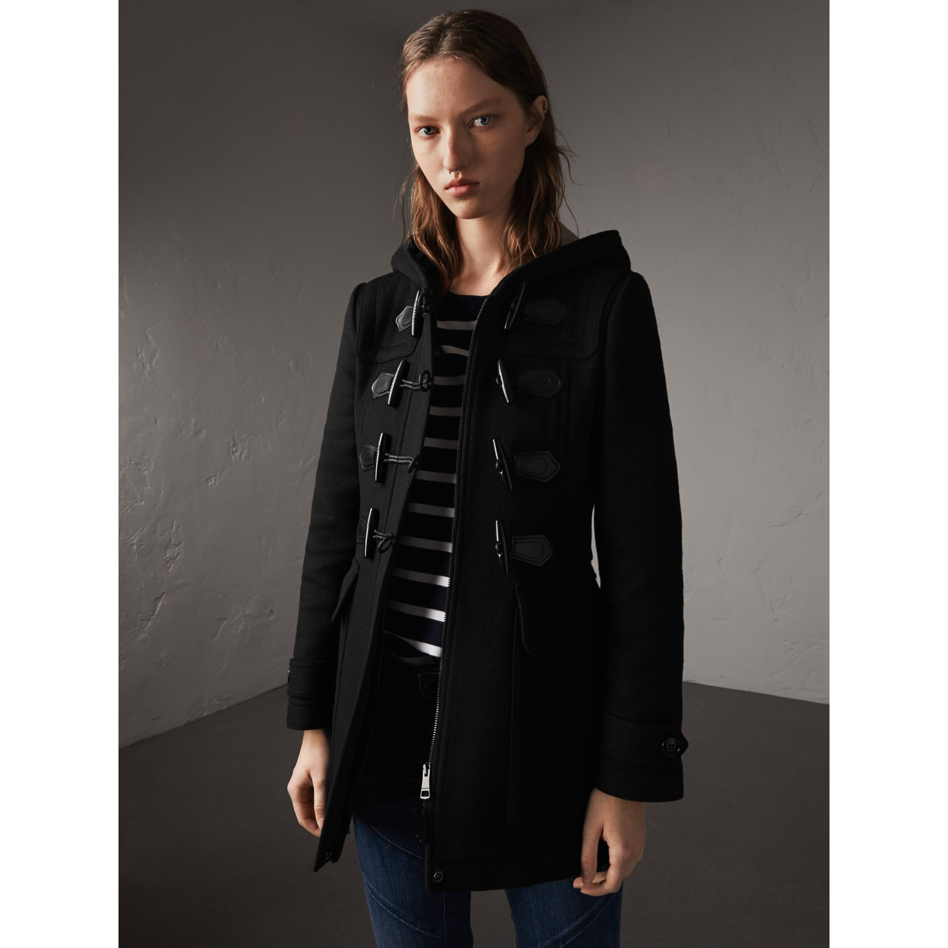 Fitted Wool Duffle Coat in Black - Women | Burberry - gallery image 5