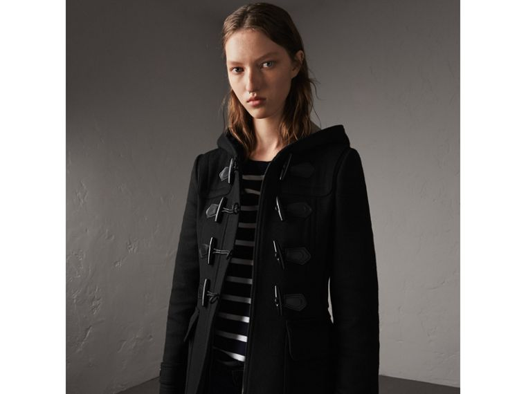 Fitted Wool Duffle Coat in Black - Women | Burberry - cell image 4