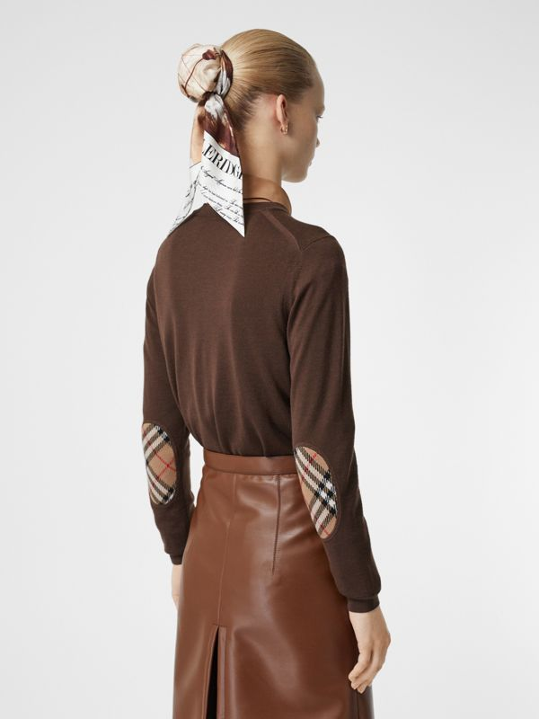 Vintage Check Detail Merino Wool Sweater in Bridle Brown - Women | Burberry - cell image 2