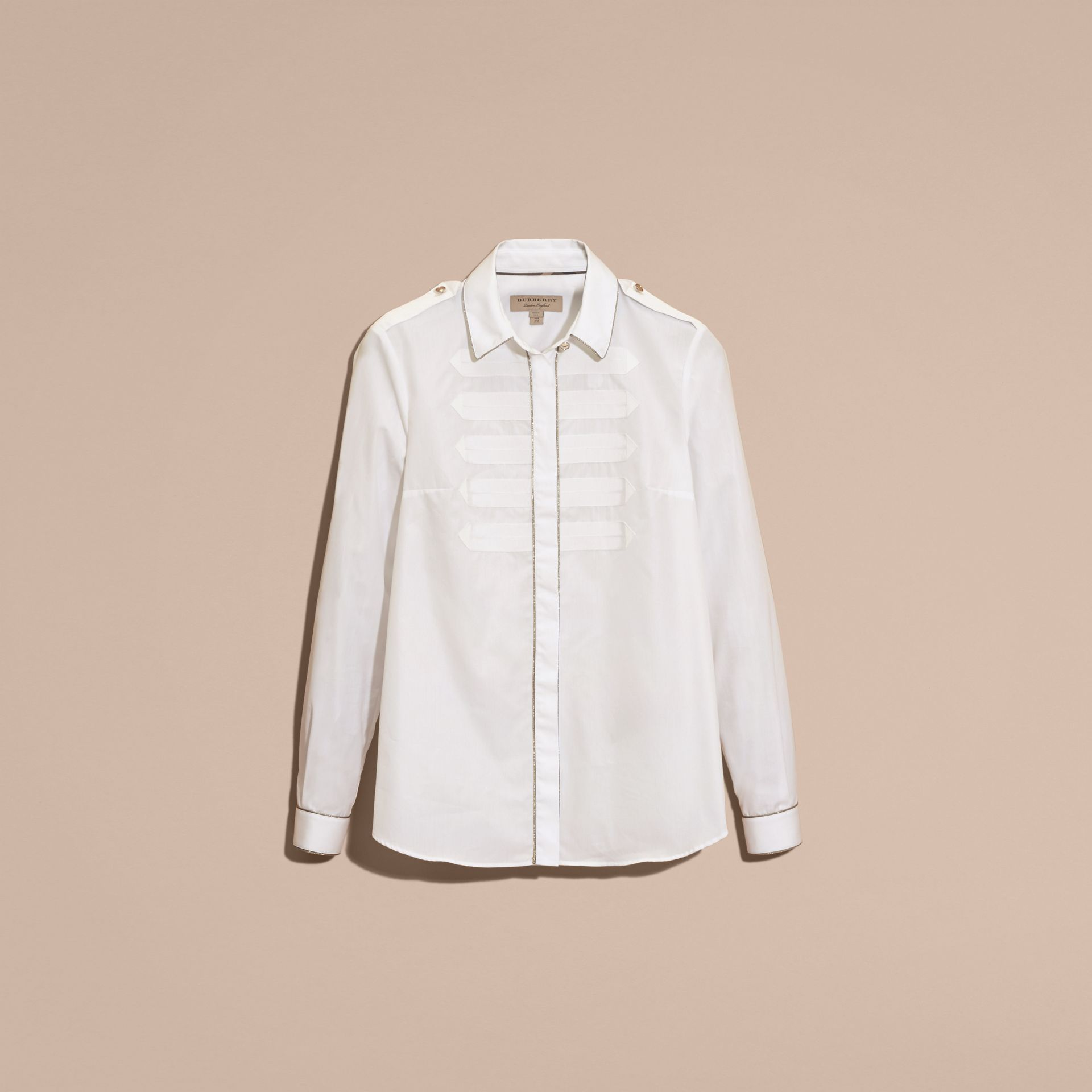 Piped Jacquard Cotton Shirt in White - gallery image 4