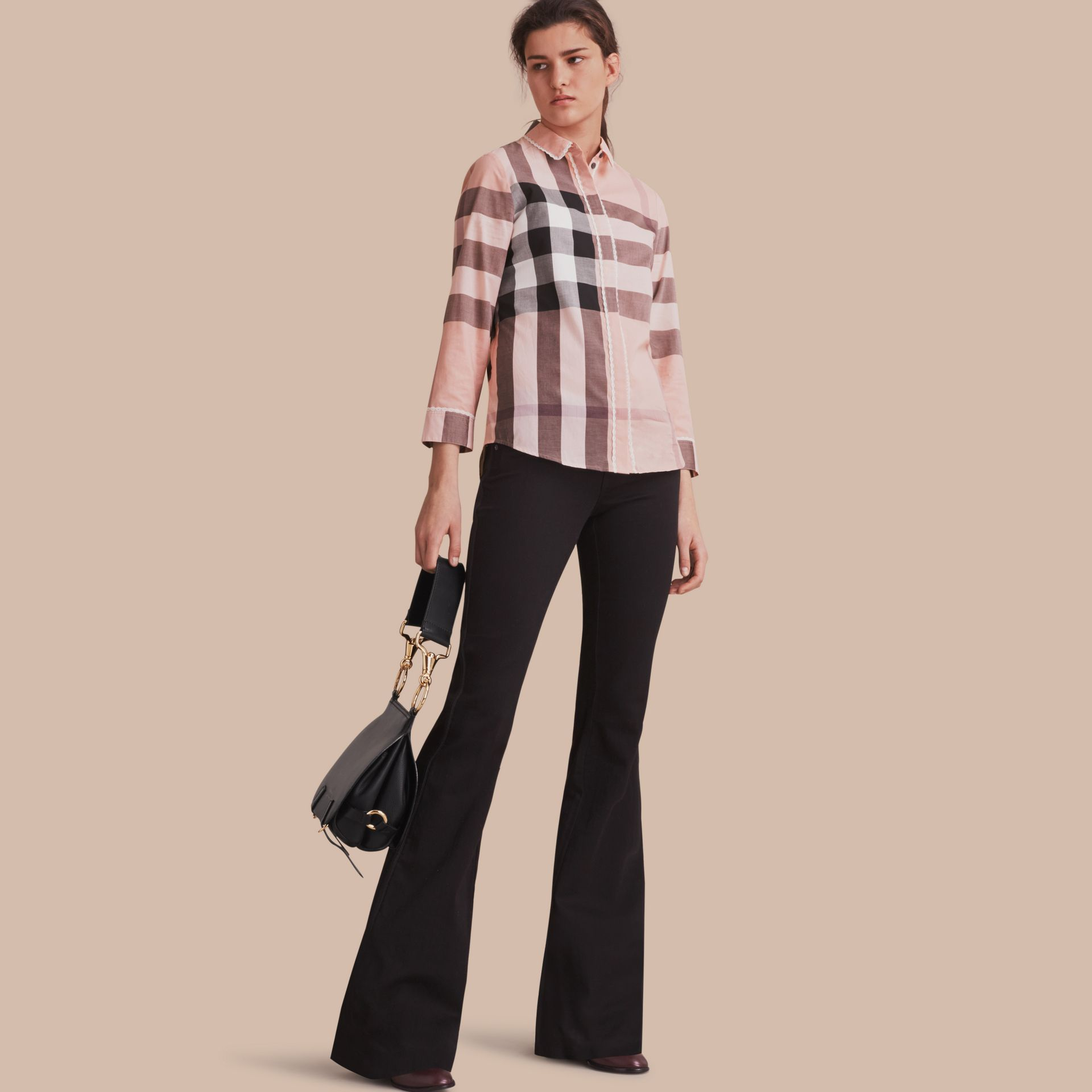 Lace Trim Check Cotton Shirt in Antique Pink - Women | Burberry - gallery image 1