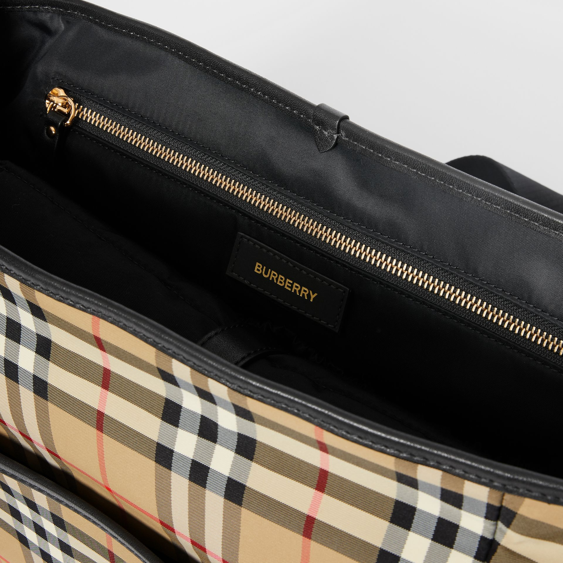 Logo Print Vintage Check Baby Changing Bag in Archive Beige - Children | Burberry - gallery image 3