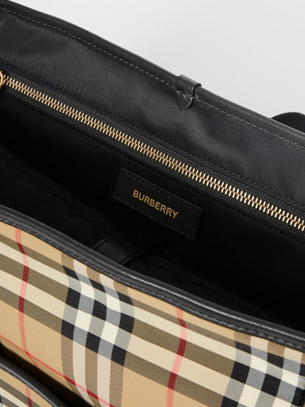 Logo Print Vintage Check Baby Changing Bag in Archive Beige - Children | Burberry - cell image 3
