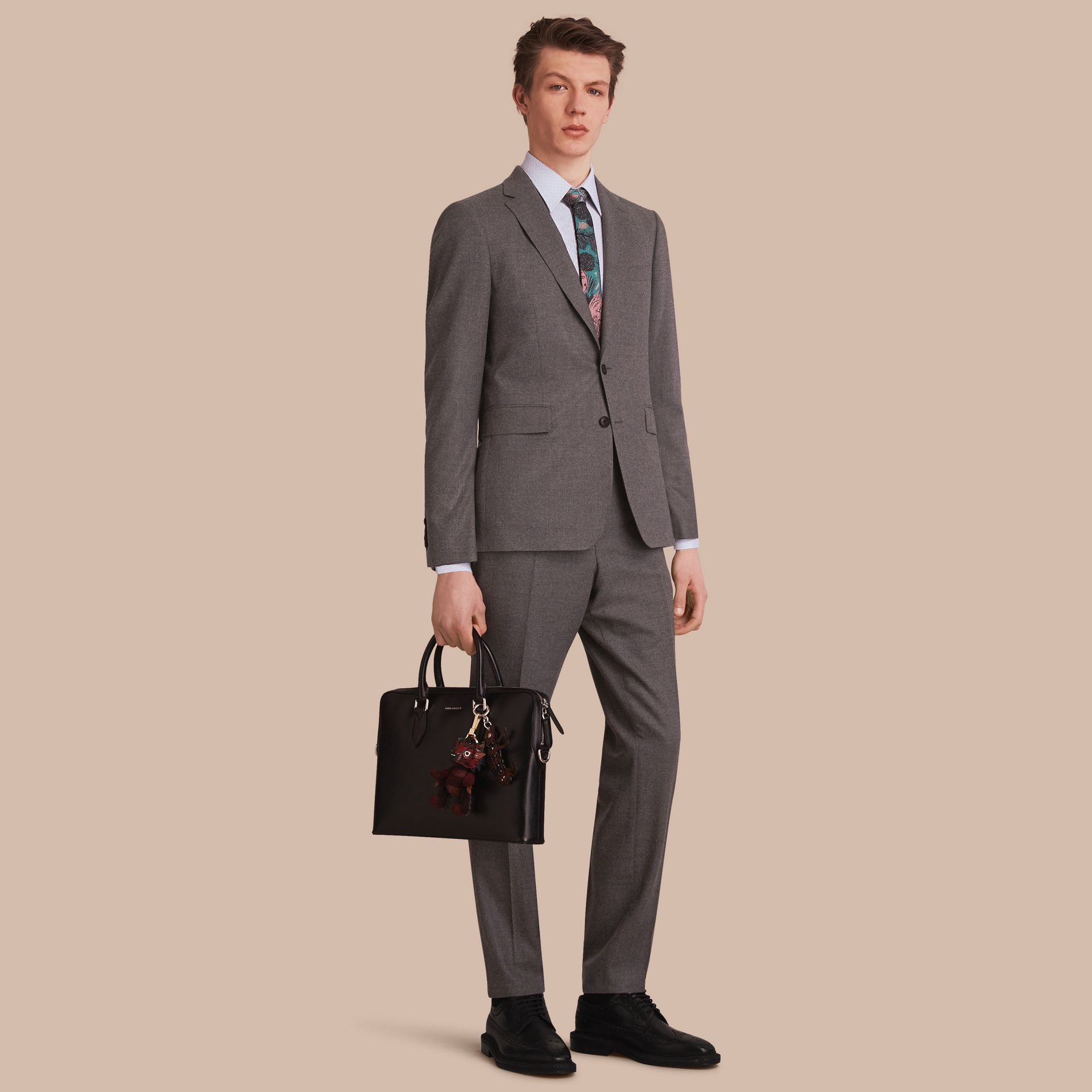Soho Fit Wool Flannel Suit in Dark Charcoal Melange - Men | Burberry - gallery image 1