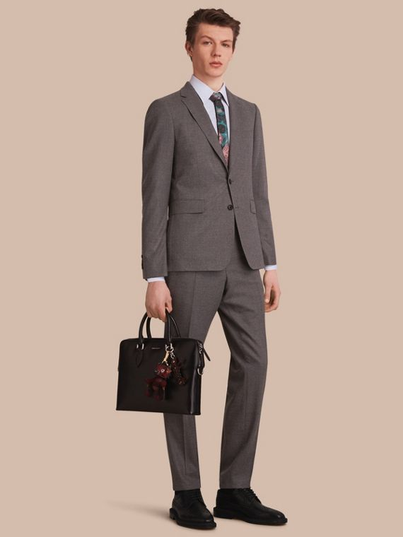 Slim Fit Wool Flannel Suit in Dark Charcoal Melange - Men | Burberry Singapore