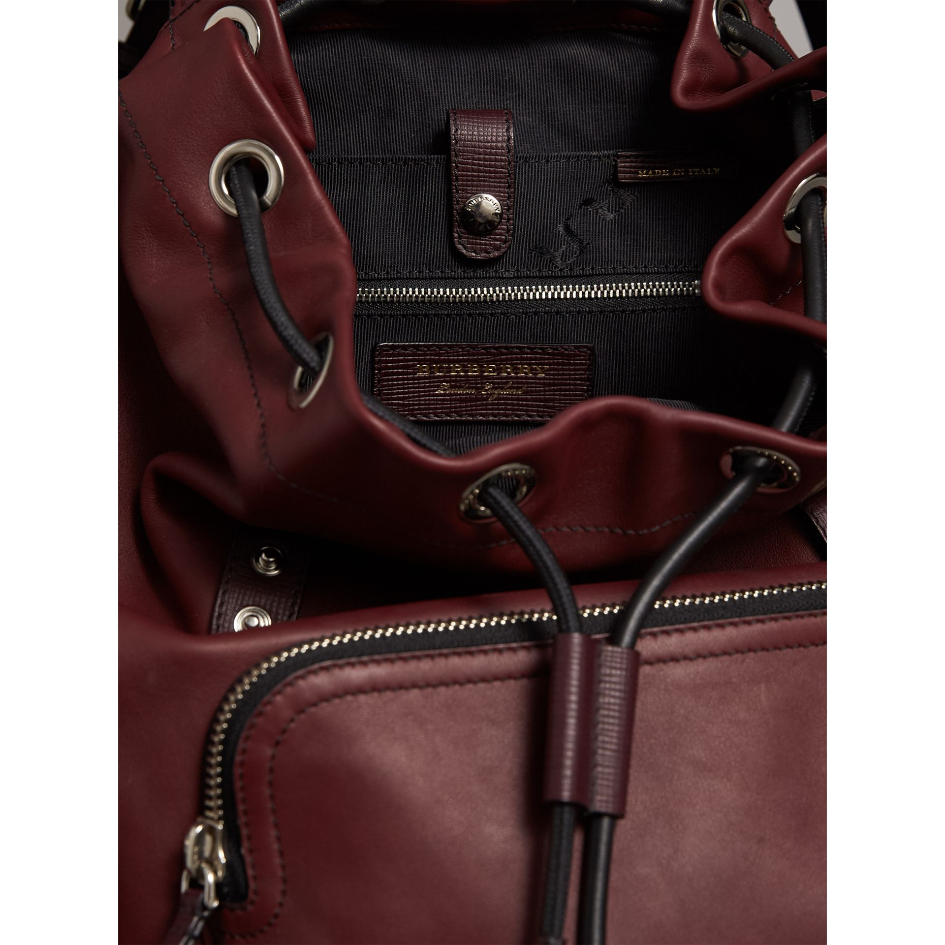 The Large Rucksack in Water-repellent Leather in Burgundy Red - Men | Burberry Singapore - gallery image 5