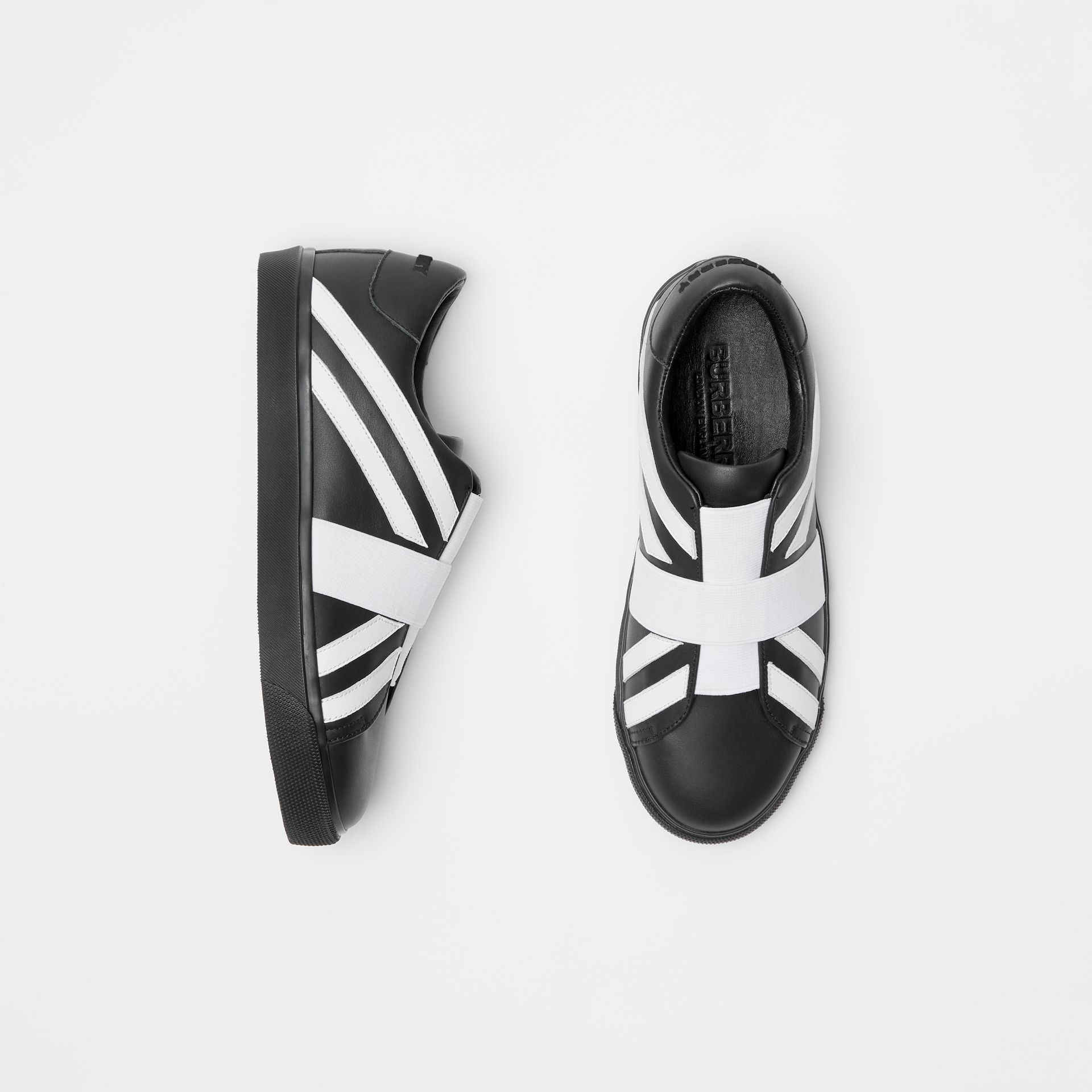 Union Jack Motif Slip-on Sneakers in Black/optic White - Women | Burberry Australia - gallery image 0