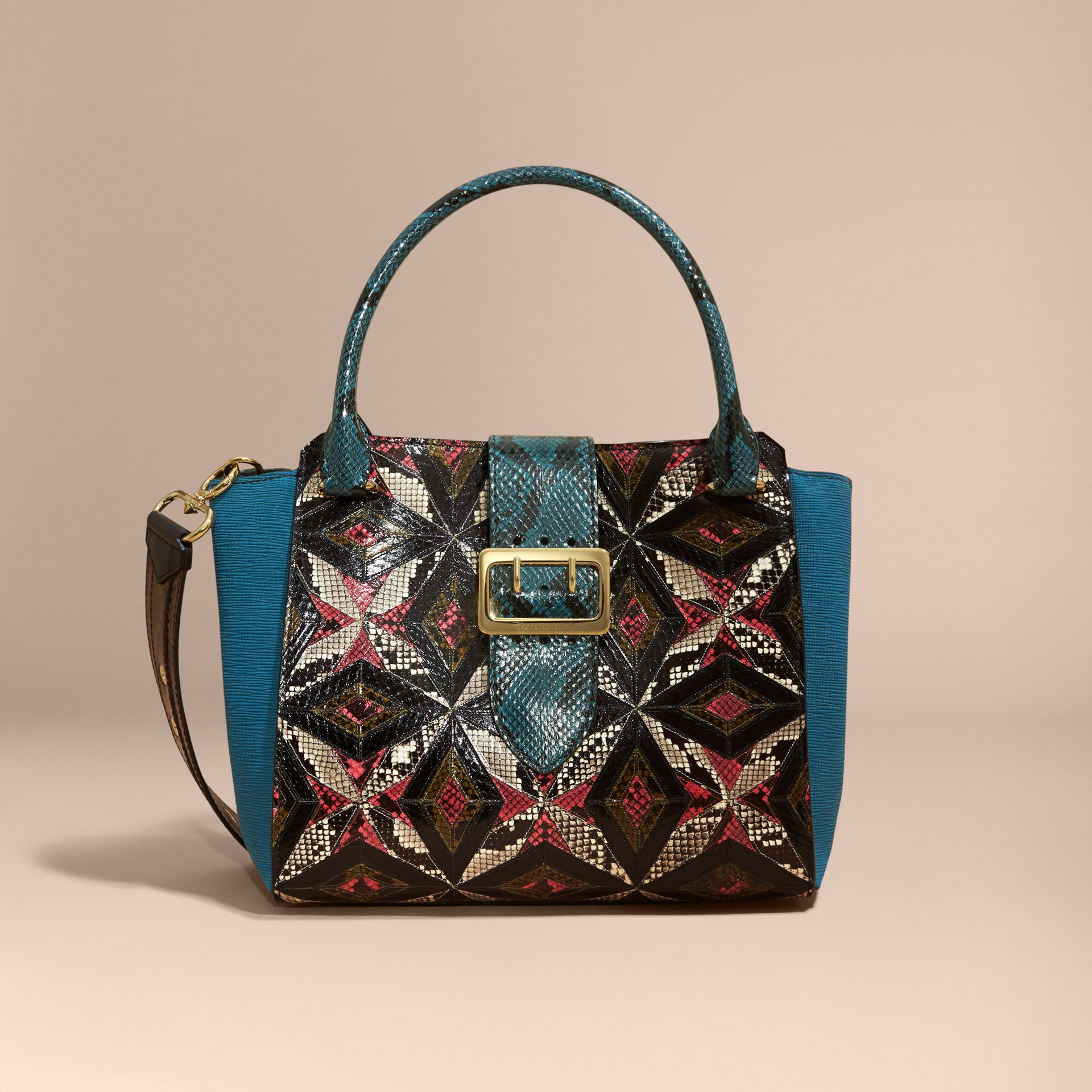 The Medium Buckle Tote in Tiled Snakeskin in Light Crimson - Women | Burberry - gallery image 0