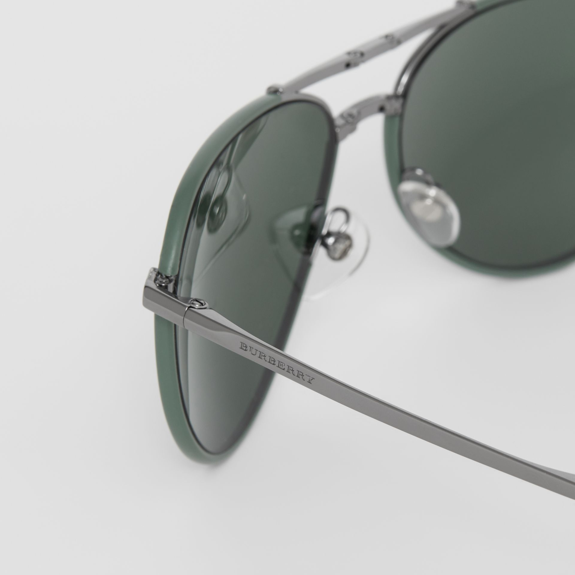 Folding Pilot Sunglasses in Dark Olive - Men | Burberry Singapore - gallery image 1