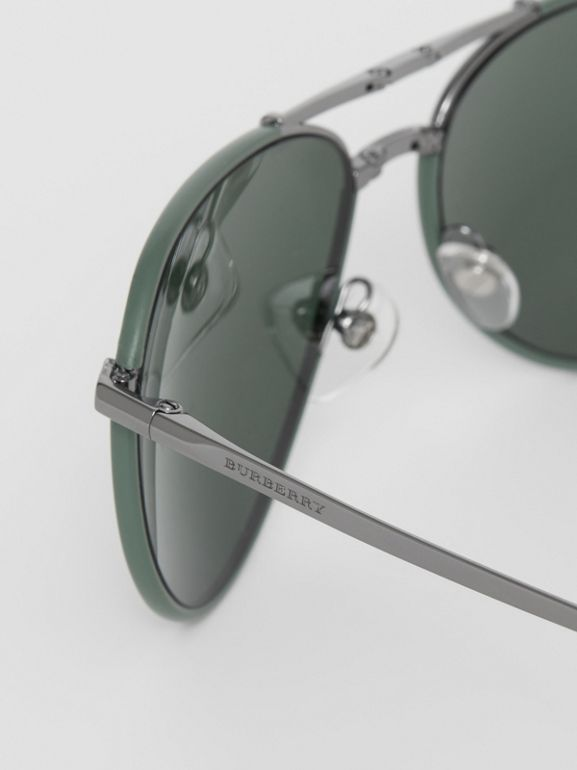Folding Pilot Sunglasses in Dark Olive - Men | Burberry Hong Kong - cell image 1