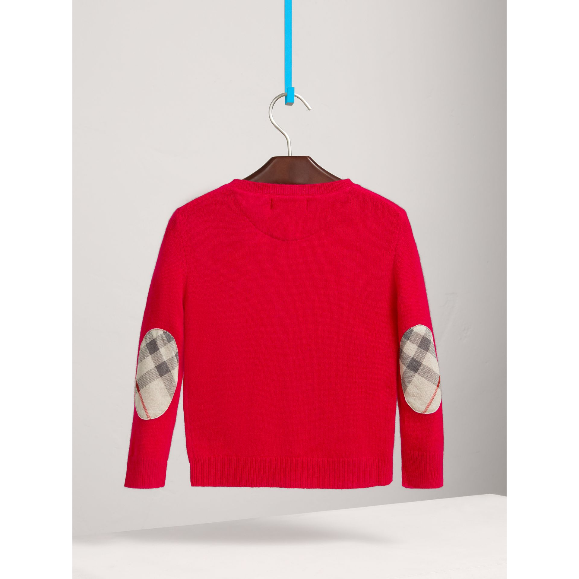 Check Elbow Patch Cashmere Sweater in Parade Red | Burberry - gallery image 3