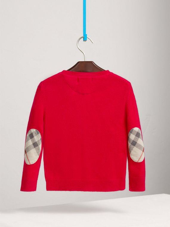 Check Elbow Patch Cashmere Sweater in Parade Red - Boy | Burberry - cell image 3