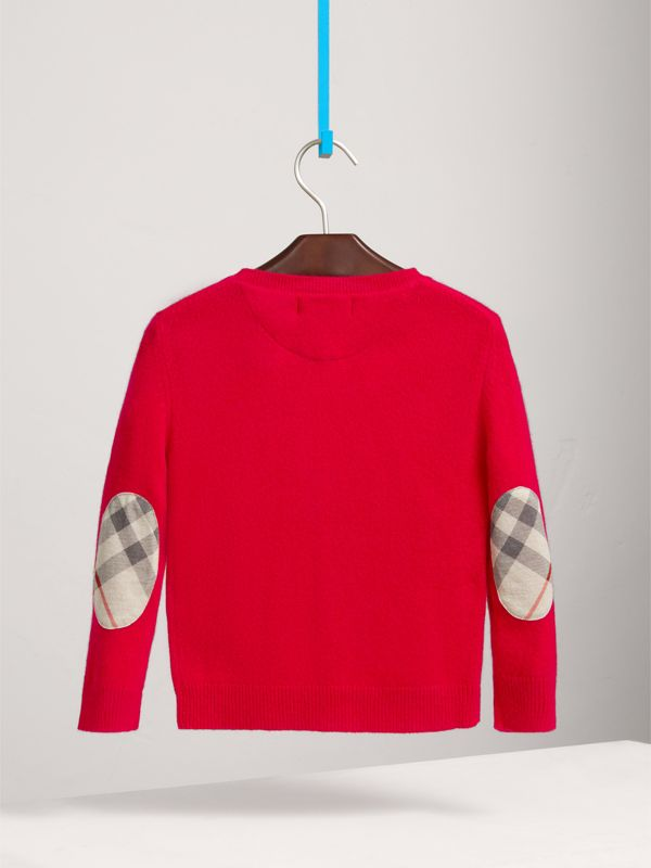 Check Elbow Patch Cashmere Sweater in Parade Red | Burberry - cell image 3