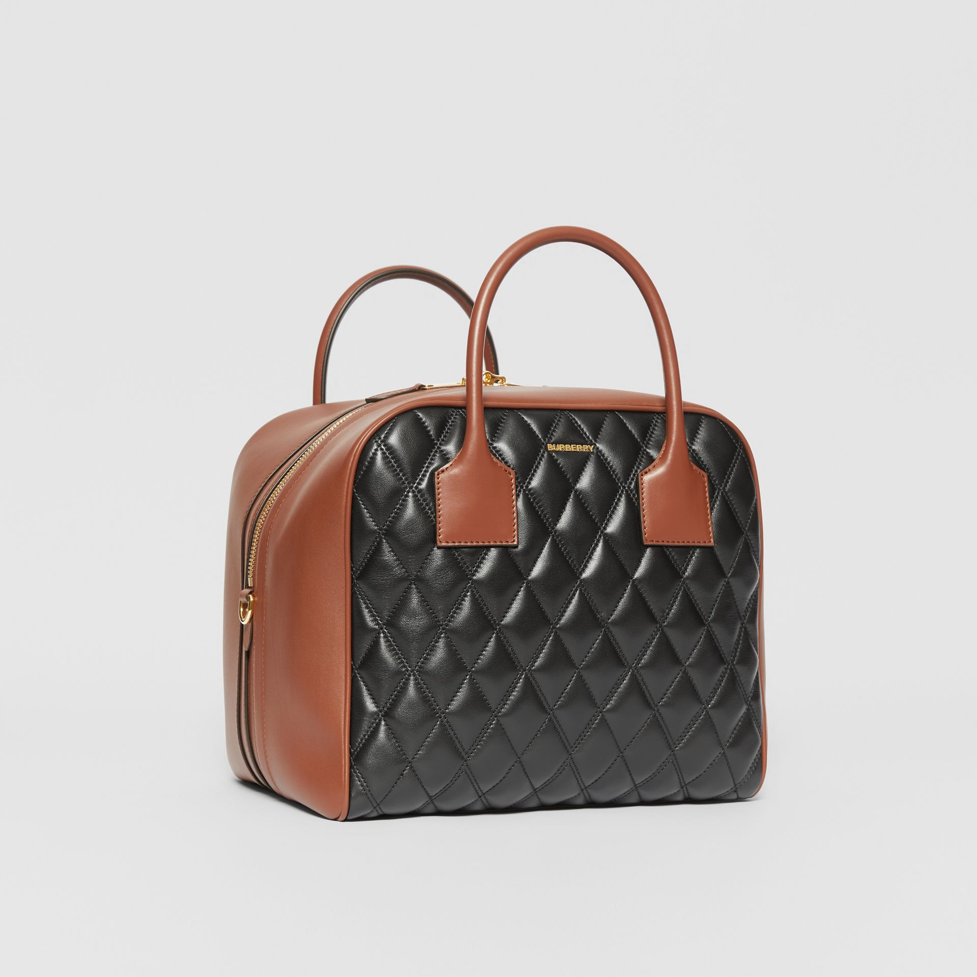 Medium Quilted Lambskin Cube Bag in Black - Women | Burberry - gallery image 4