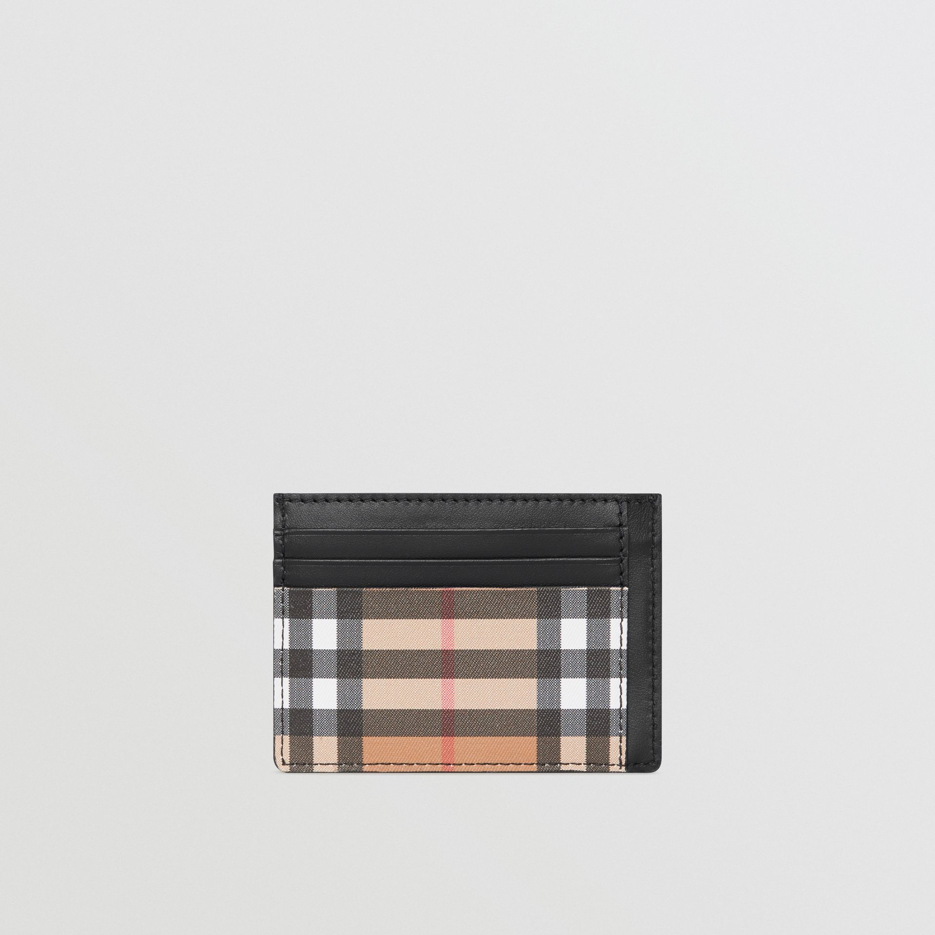 Vintage Check Leather Card Case in Black - Men | Burberry - gallery image 2
