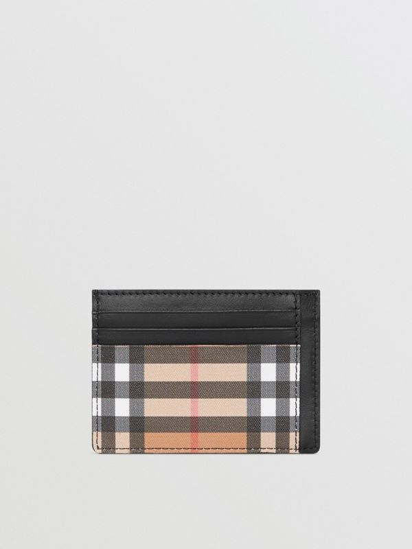Vintage Check Leather Card Case in Black - Men | Burberry - cell image 2