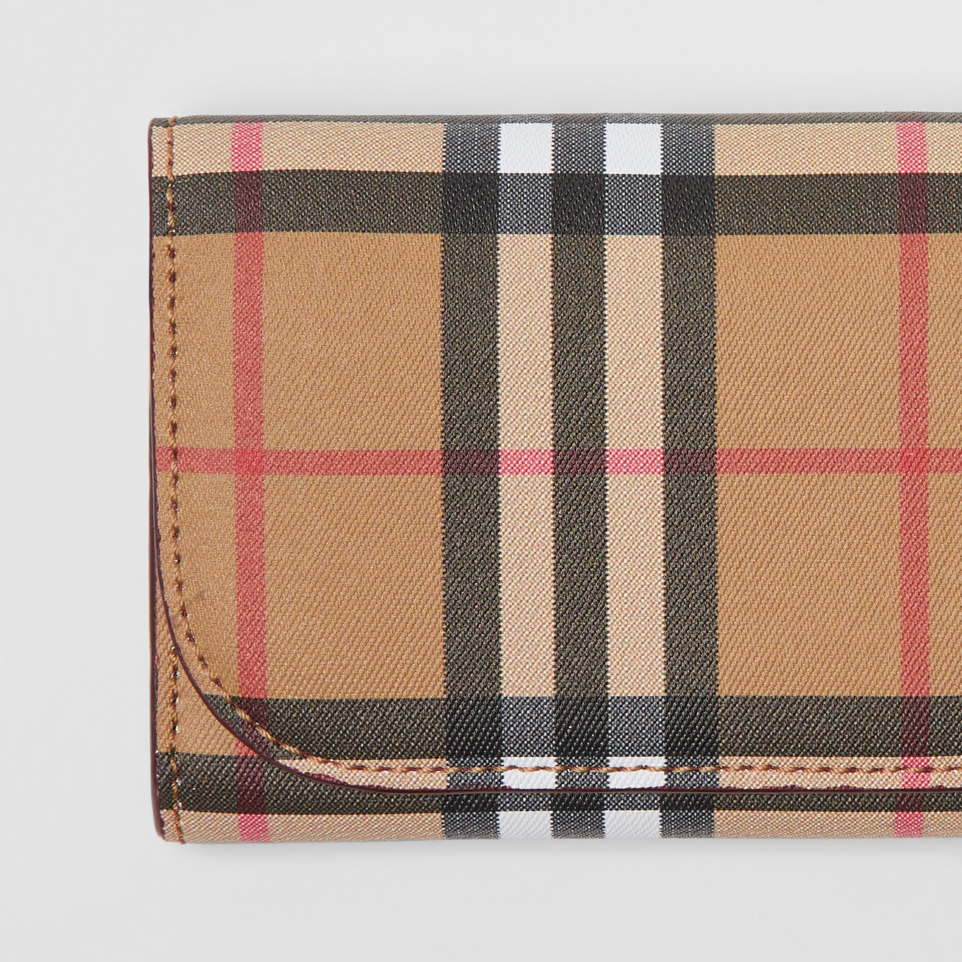 Vintage Check and Leather Continental Wallet in Crimson - Women | Burberry Australia - gallery image 1