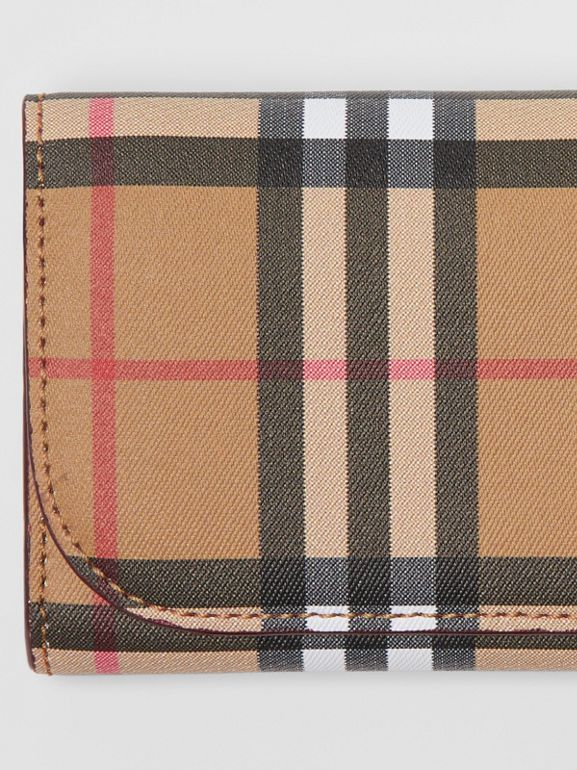 Vintage Check and Leather Continental Wallet in Crimson - Women | Burberry United Kingdom - cell image 1